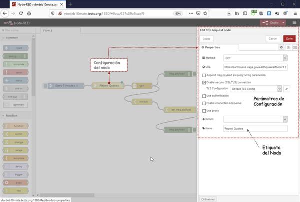 cuadro de diálogo de edición/configuración de los nodos